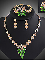 18K Gold Emerald Necklace Earrings clavicle ring bracelet Jewelry Set Yan will be the bride