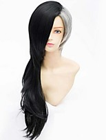 Fashion Color Cartoon Wig Male Black Ash Mixed Color Long Wigs