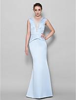 Vestido de Dama de Honor - Azul cielo Corte Sirena Escote en V - Hasta el Suelo Encaje / Satén