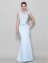 Floor-length Lace / Satin Bridesmaid Dress - Sky Blue Trumpet/Mermaid V-neck