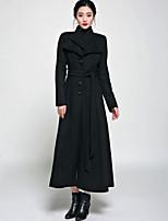 Cappotto Da donna Vintage / Casual Manica lunga Tweed / Lana