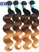 4Pcs /Lot 3T Brazilian Virgin Hair Body Wave 1B/4/27# Ombre Human Hair Weaves