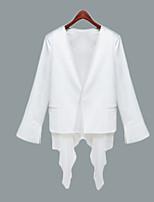 Women's Solid White Blazer , Sexy V Neck Long Sleeve