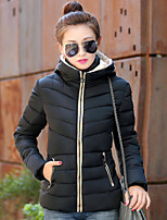 Women's Solid Blue / Red / Black / Green Parka Coat , Casual Hooded Long Sleeve