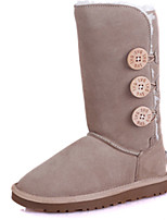 Women's Shoes Suede Flat Heel Snow Boots / Motorcycle Boots Boots Outdoor / Casual Black / Gray / Taupe