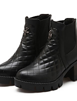Women's Shoes Leatherette Chunky Heel Heels / Fashion Boots Heels / Boots Outdoor / Casual Black / White