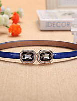 Women Matching Faux Leather Skinny Belt , Party / Casual Rhinestone / Leather
