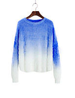 Women's Patchwork Blue / Pink / Red / Gray Pullover , Casual Long Sleeve