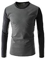 Men's Long Sleeve T-Shirt , Spandex Casual Pure