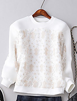 Women's Solid / Lace White Hoodies , Casual Crew Neck Long Sleeve