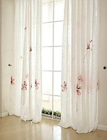 (Two Panels)Modern Pink Flower Painted Linen Ployester Blend Curtain(Sheer Not Included)