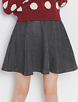 Women's Solid Black / Gray Skirts , Casual Above Knee