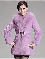 Women Fox Fur Outerwear , Belt Not Included