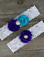 2pcs/set Purple And Blue Satin Lace Chiffon Beading Wedding Garter