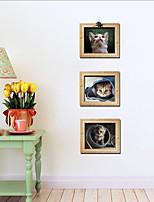 Animals Wall Stickers 3D Cat Wall Stickers , PVC 30cm*90cm