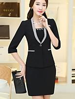 Women's Solid Blue / White / Black / Yellow Blazer , Work / Plus Sizes Deep V ½ Length Sleeve