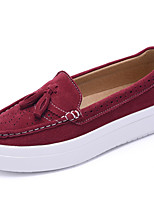 Women's Shoes Suede Flat Heel Creepers / Comfort Flats / Loafers Party & Evening / Dress / Casual Black / Red