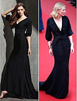 TS Couture Formal Evening Dress - Black Plus Sizes / Petite Sheath/Column V-neck Sweep/Brush Train Knit