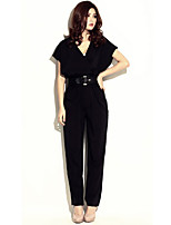 Women's Solid Black Jumpsuits , Casual V Neck Short Sleeve