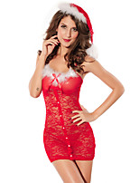 Christmas Costume Women's Red Sexy Lace Performance Polyester Dress with Hat