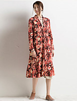 Women's Autumn Winter New Fashion Printing Long Sleeve Loose Plus Size Dust Coat