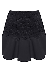Women's Solid / Lace White / Black Skirts , Casual Mini