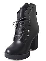 Chaussures Femme - Décontracté - Noir - Gros Talon - Talons / A Plateau / Bottine / Bout Arrondi - Talons / Bottes - Similicuir