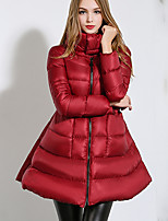 Women's Solid Red / Black Down Coat , Casual Stand Long Sleeve