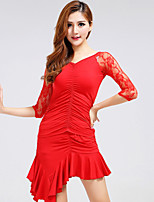 Latin Dance Dresses Women's Performance Nylon / Spandex / Polyester / Milk Fiber Draped 1 Piece 3 Colors