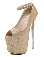 Women's Shoes Synthetic Stiletto Heel  Peep Toe Heels Dress Black / Silver / Gold
