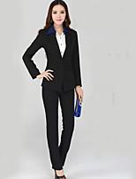 Women's Solid Black Blazer , Work Asymmetrical Long Sleeve