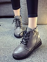 Women's Shoes All Match Wedge Heel Round Toe Boots Black / Gray / Burgundy