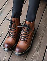 Zapatos de mujer - Tacón Robusto - Punta Redonda - Botas - Casual - Cuero - Negro / Marrón / Gris