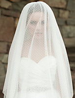 Wedding Wave Point Veil Three-tier Fingertip Veils Cut Edge