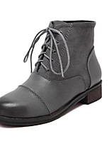 Women's Shoes Chunky Heel Closed Toe Boots Casual Black / Gray