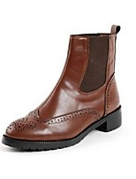 Women's Shoes Leatherette Flat Heel Fashion Boots Boots Office & Career / Dress / Casual Black / Brown