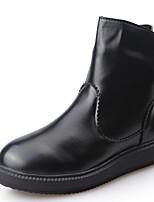 Zapatos de mujer - Tacón Bajo - Punta Redonda - Botas - Casual - Semicuero - Negro