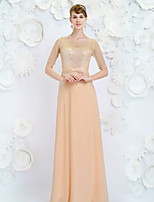 Formal Evening Dress - Champagne Sheath/Column Jewel Floor-length Satin