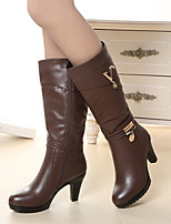 Women's Shoes New Lady Chunky Heel Round Toe Knee High Boots Dress / Casual Black