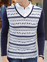 New winter men long sleeve T-shirt shirt collar false two-piece printed cotton cultivate one's morality
