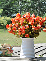 21 Head of European Orange Herb Rose in Silk Cloth Artificial Flower for Home Decoration(10Piece)