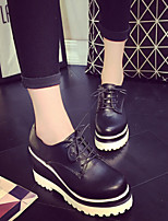 Scarpe Donna - Sneakers alla moda - Tempo libero / Casual - Zeppe / Punta arrotondata - Zeppa - Finta pelle - Nero / Bianco