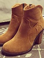 Calçados Femininos - Botas - Arrendondado - Salto Grosso - Preto / Marrom - Courino - Casual