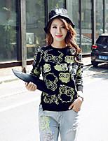 Women's Print Blue / Black Pullover , Casual / Cute Long Sleeve