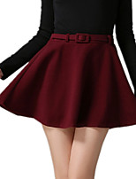 Autumn Winter Women's Solid Red / Black / Green Wild Thin Casual / Cute Woolen Umbrella Mini Skirts