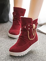 Women's Shoes Preppy Style Warm Wedge Heel Round Toe Boots Casual Black / Red / Khaki