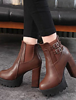 Women's New Arrival  Shoes Chunky Heel Fashion Round Toe Comfort Boots Dress / Casual Black / Brown