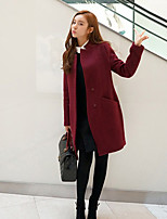 Women's Solid Red Coat , Casual Long Sleeve Tweed