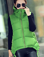 Women's Vogue New Waisted Hooded Sleeveless Down Vest More Colors