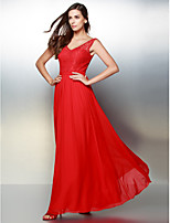 Formal Evening Dress - Ruby A-line V-neck Ankle-length Chiffon / Lace